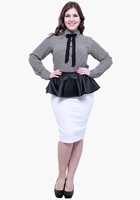 CURVE Knotty Gal Shirt - Houdstooth