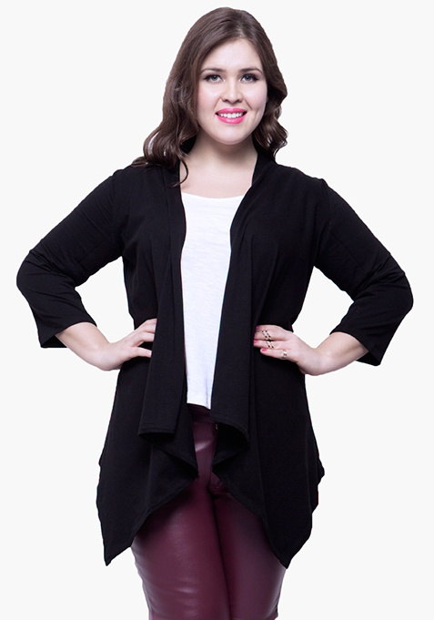CURVE Sleeve Patch Shrug - Black