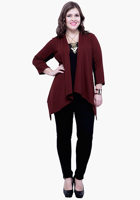 CURVE Sleeve Patch Shrug - Oxblood