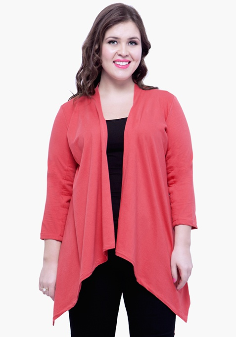 CURVE Sleeve Patch Shrug - Coral