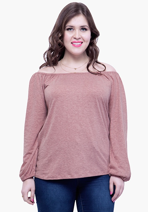 CURVE Off-Shoulder Slub Top -  Old Rose