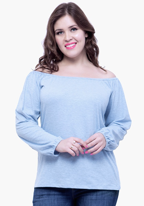CURVE Off-Shoulder Slub Top - Light Blue