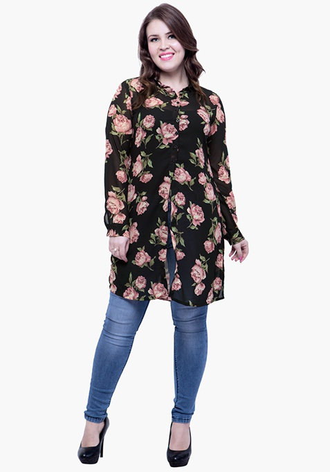 CURVE Rose Bliss Maxi Shirt - Black