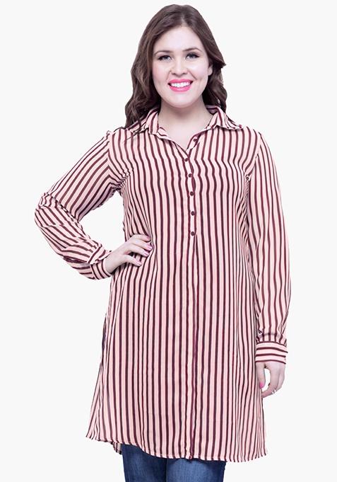 CURVE Striped Maxi Shirt - Red