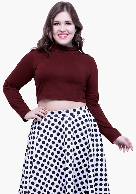 CURVE Turtle Neck Crop Top - Oxblood