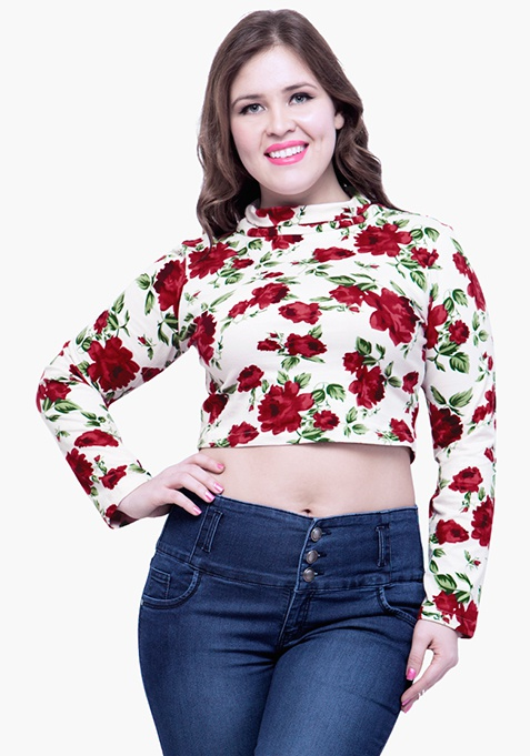CURVE Turtle Neck Crop Top - Rose Bliss