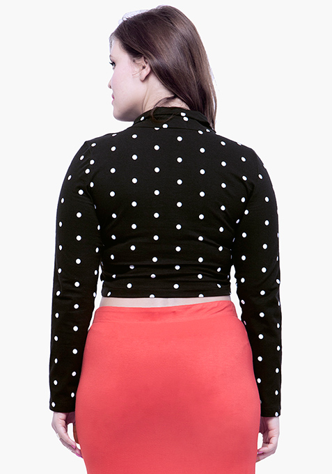 CURVE Turtle Neck Crop Top - Polka