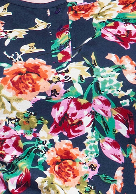 CURVE Classic Henley Tee - Floral