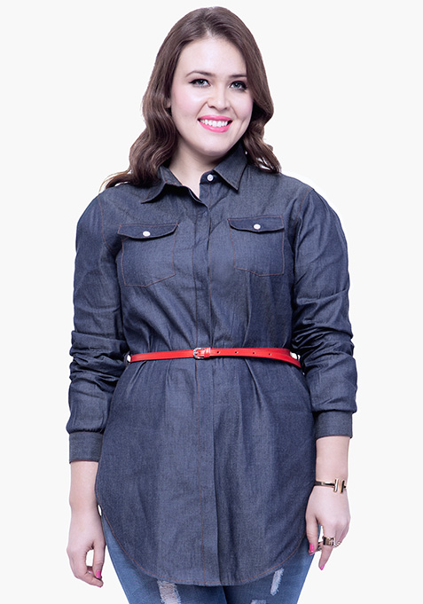 CURVE Chambray Shirt - Dark