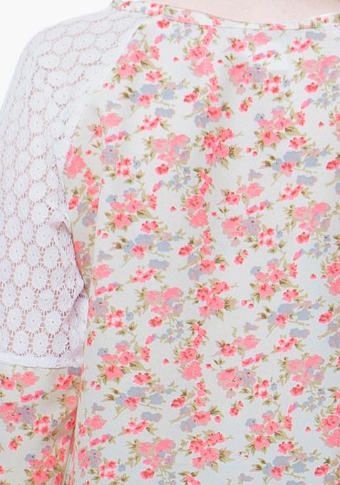 CURVE Raglan Blouse - Floral