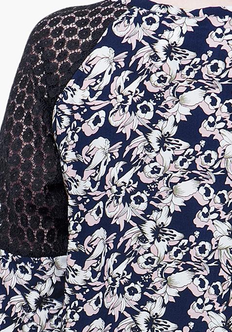 CURVE Raglan Blouse - Dark Floral