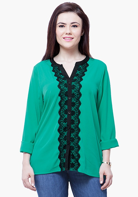 CURVE Lace Delight Blouse - Green