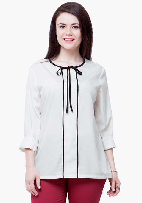 CURVE Skinny Knot Blouse - White