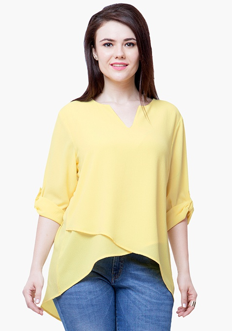 CURVE Tulip Blouse - Lemon