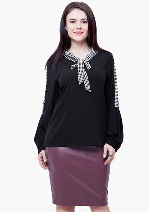 CURVE Pussybow Blouse - Black
