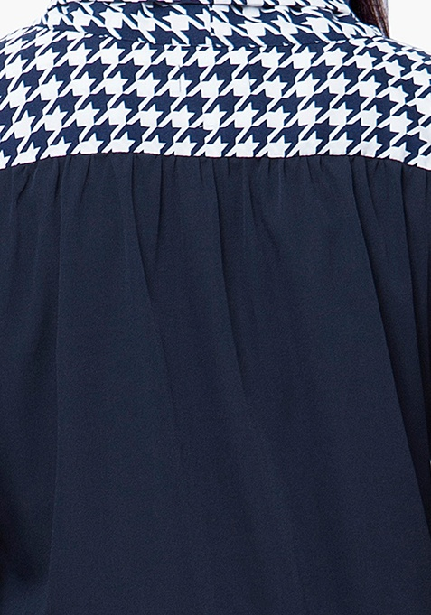 CURVE Pussybow Blouse - Navy