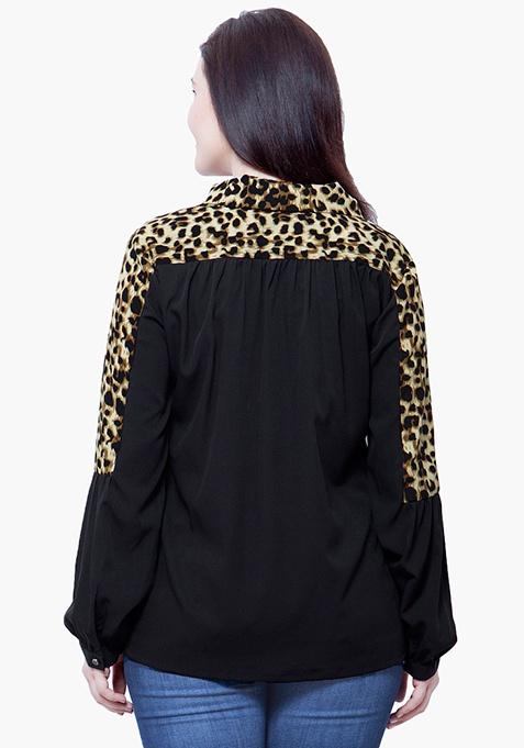 CURVE Pussybow Blouse - Leopard