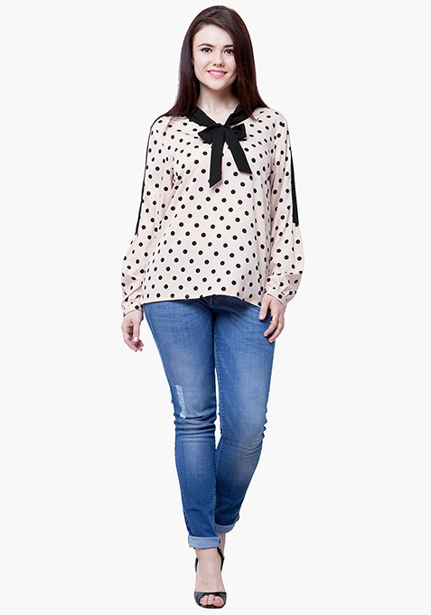 CURVE Pussybow Blouse - Polka