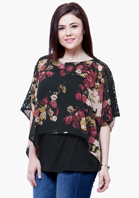 CURVE Sheer Overlay Top - Floral