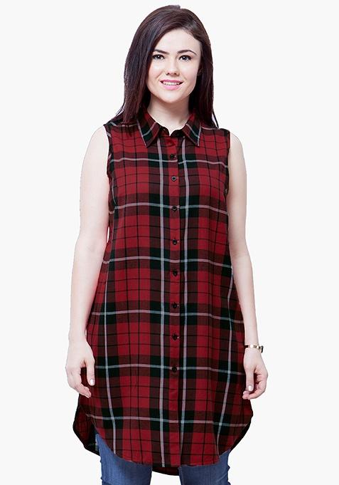 CURVE Tartan Longline Shirt - Red