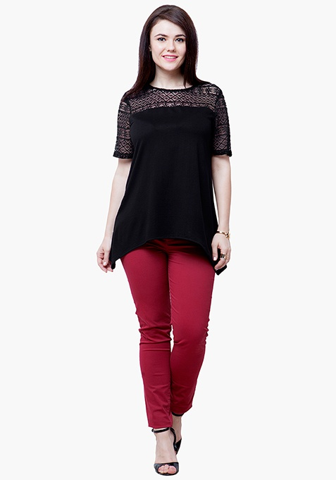 CURVE Lace Spell Top - Black