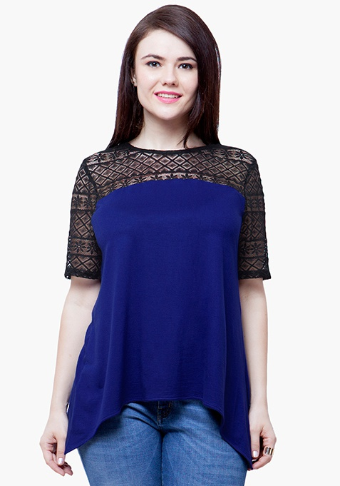 CURVE Lace Spell Top - Blue
