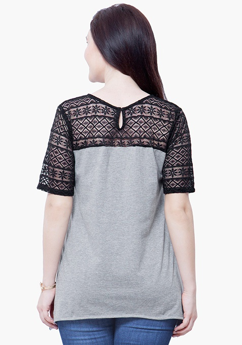 CURVE Lace Spell Top - Grey