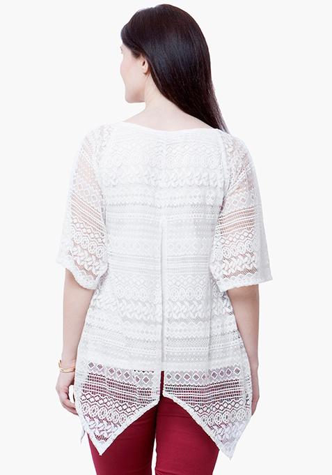CURVE Handkerchief Lace Top - White