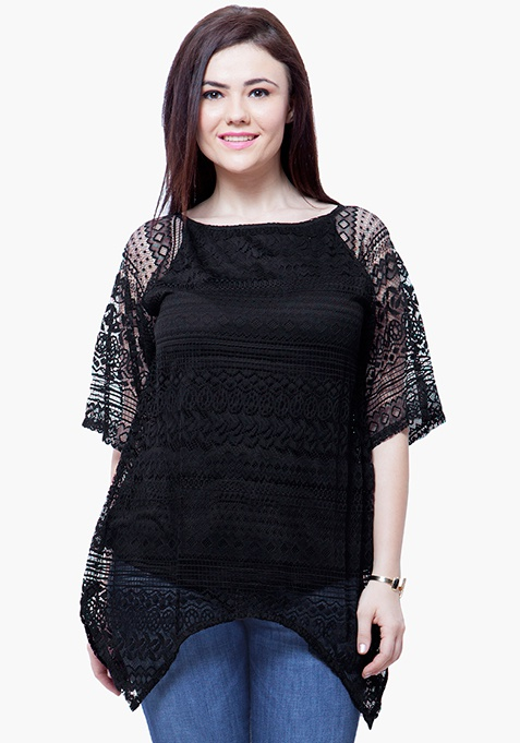 CURVE Handkerchief Lace Top - Black