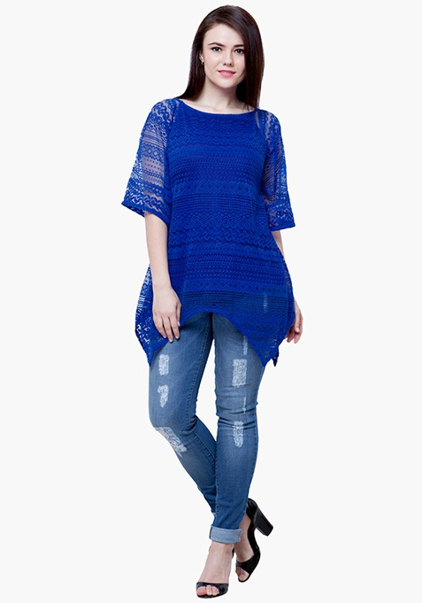 CURVE Handkerchief Lace Top - Blue
