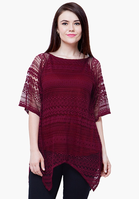 CURVE Handkerchief Lace Top - Oxblood