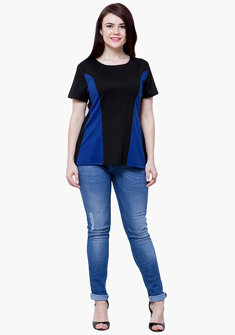 CURVE Blue Panelled Top