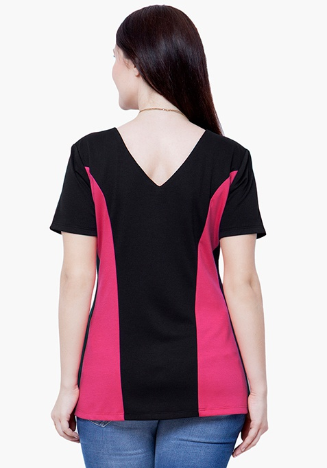 CURVE Pink Panelled Top