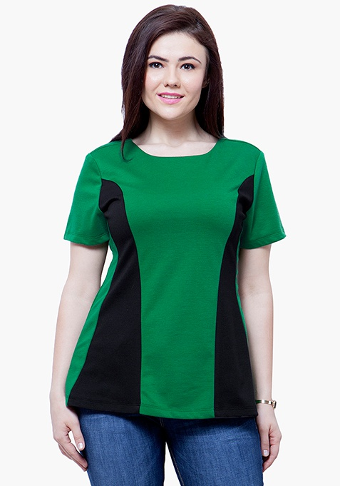 CURVE Black Panelled Top