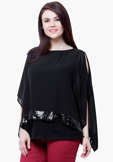 CURVE Sequin Poncho Top - Black