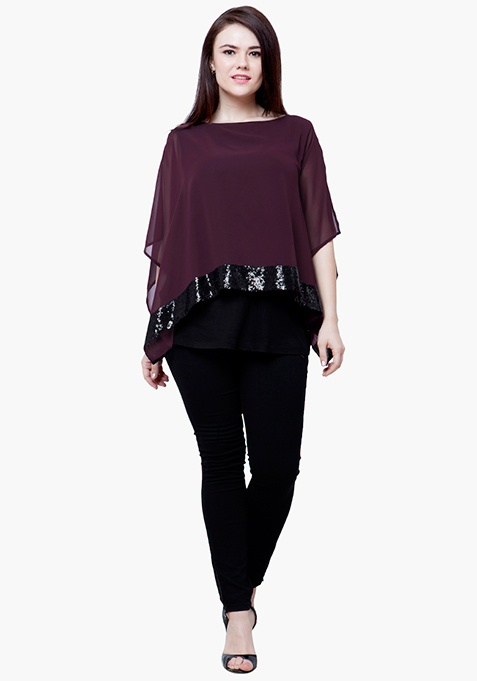 CURVE Sequin Poncho Top - Wine