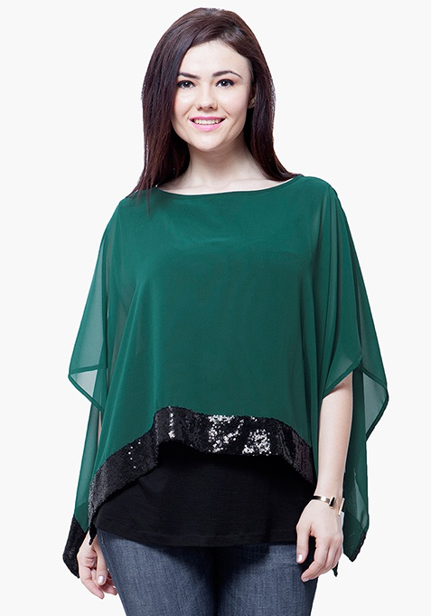 CURVE Sequin Poncho Top - Green