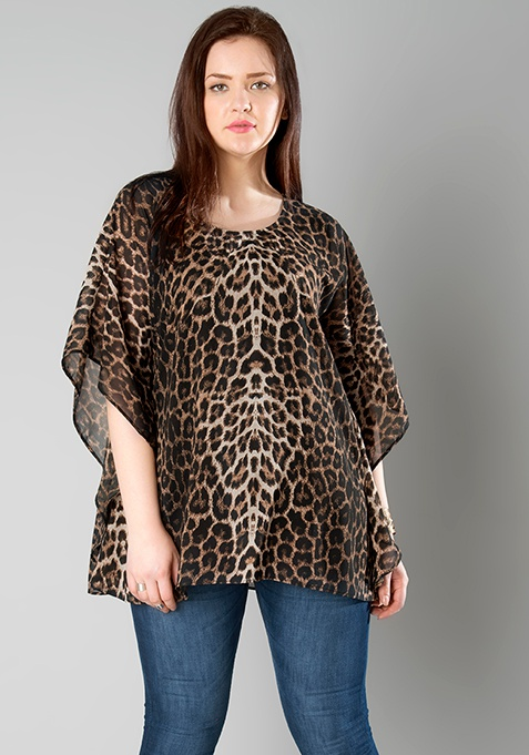 CURVE Animal Print Kaftan Top
