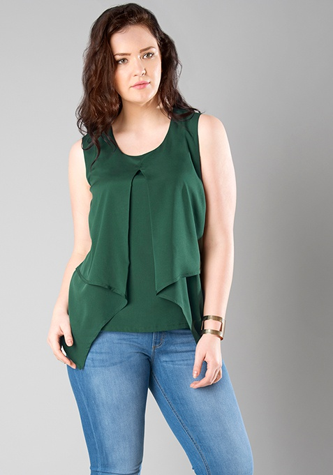 CURVE Layered Tank Top - Green
