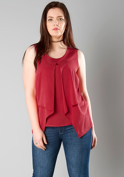 CURVE Layered Tank Top - Red