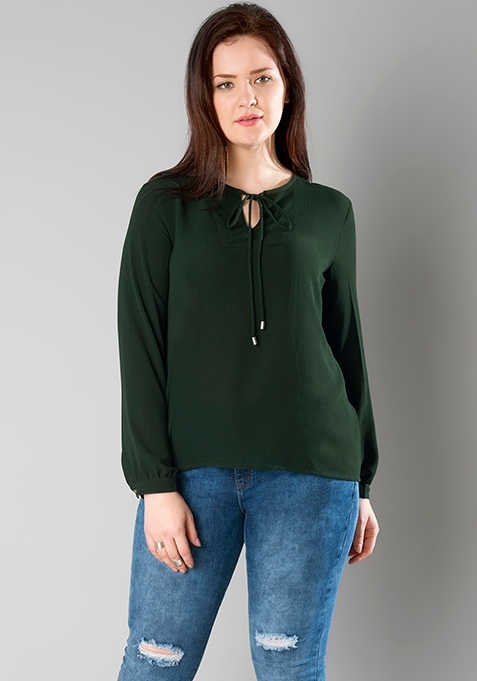 CURVE Tie Front Blouse - Green