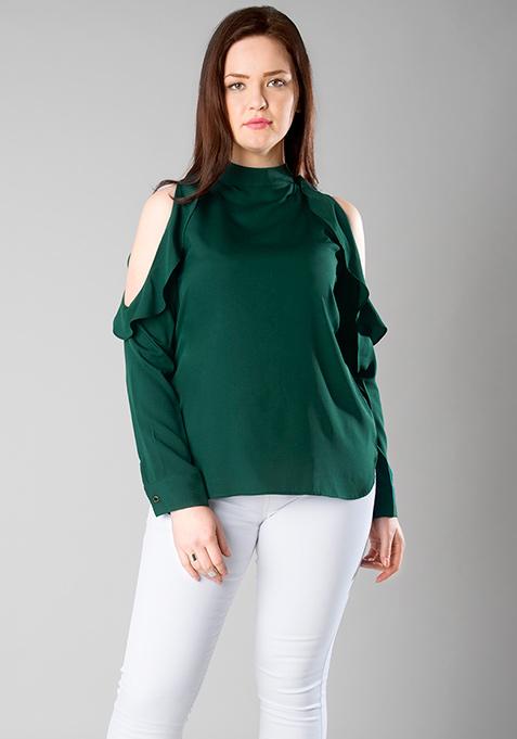 CURVE Emerald Ruffles Cold Shoulder Top