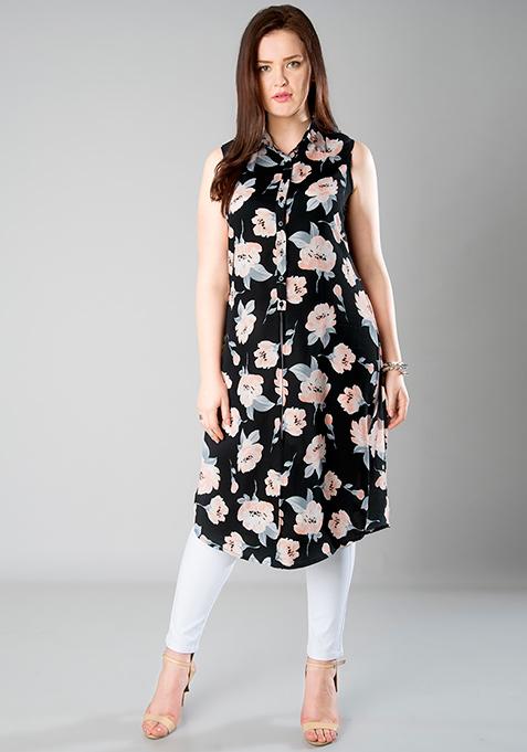 CURVE Longline Shirt Tunic - Floral