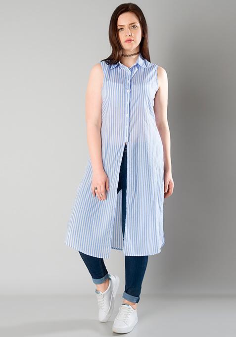 CURVE Longline Shirt Tunic - Pinstripes