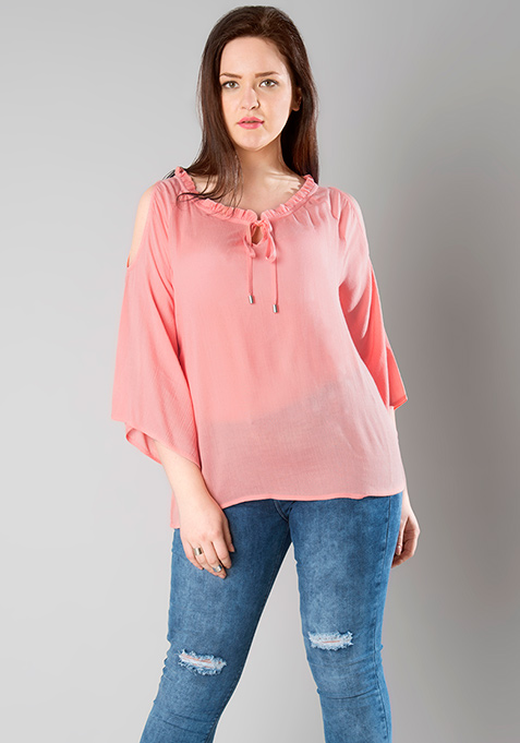 CURVE Pleated Neck Cold Shoulder Top - Pink