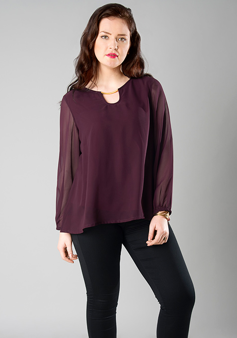 CURVE Metal Bar Blouse - Wine