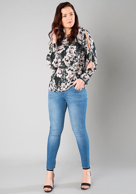 CURVE Split Sleeve Top - Floral