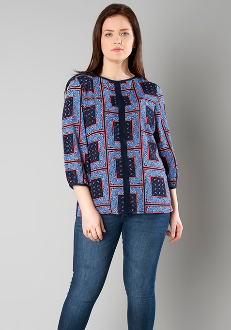 CURVE Color Blocked Top - Navy Paisley
