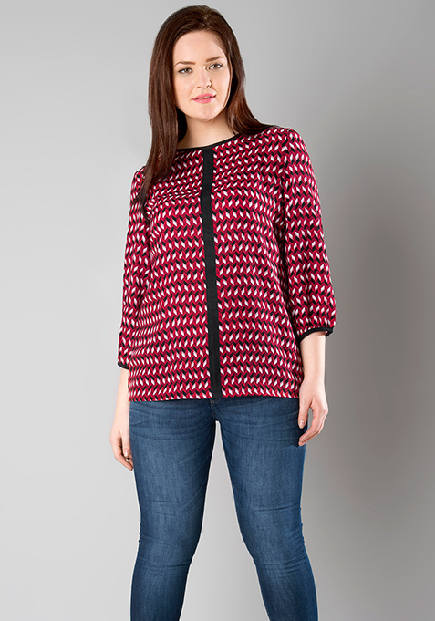 CURVE Color Blocked Top - Deep Red