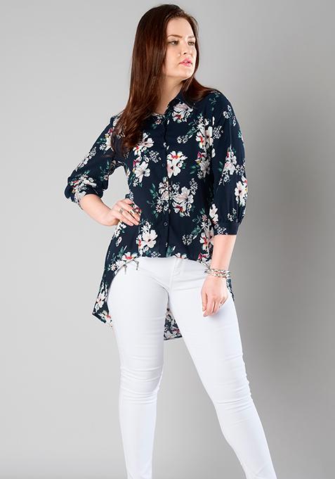 CURVE Round Hem Shirt - Floral